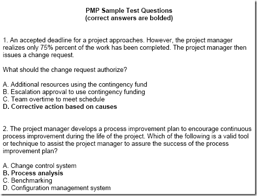 PMP Sample Questions